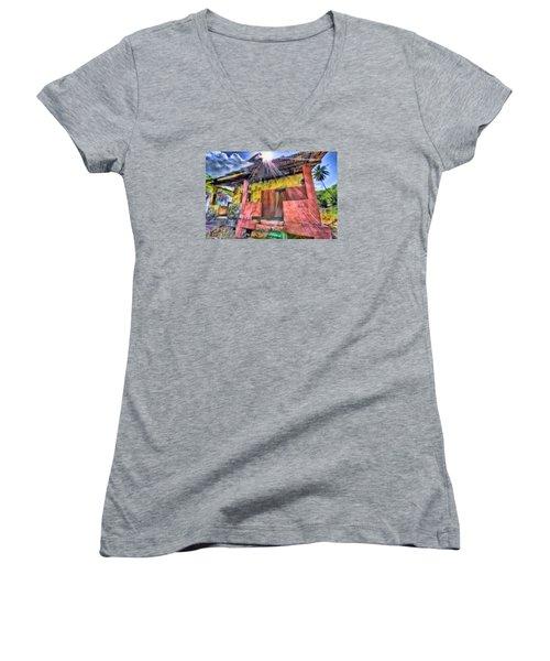 Derelict House Women's V-Neck T-Shirt (Junior Cut) by Nadia Sanowar