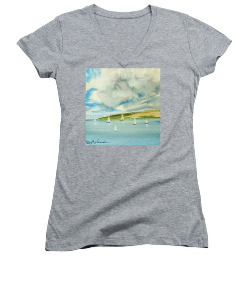 Dark Clouds Threaten Derwent River Sailing Fleet Women's V-Neck
