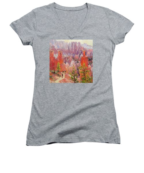 Women's V-Neck featuring the painting Descent Into Bryce by Steve Henderson