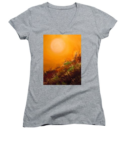 Women's V-Neck T-Shirt (Junior Cut) featuring the painting Hot Desert  Evening  by Dan Whittemore