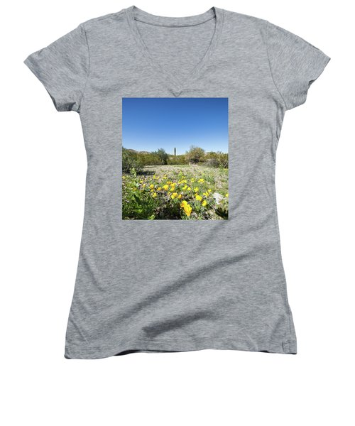 Women's V-Neck T-Shirt (Junior Cut) featuring the photograph Desert Flowers And Cactus by Ed Cilley