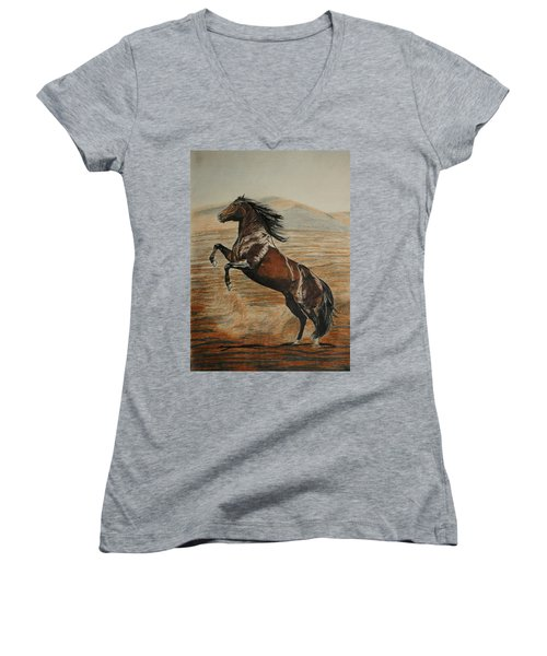 Women's V-Neck T-Shirt (Junior Cut) featuring the drawing Desert Horse by Melita Safran