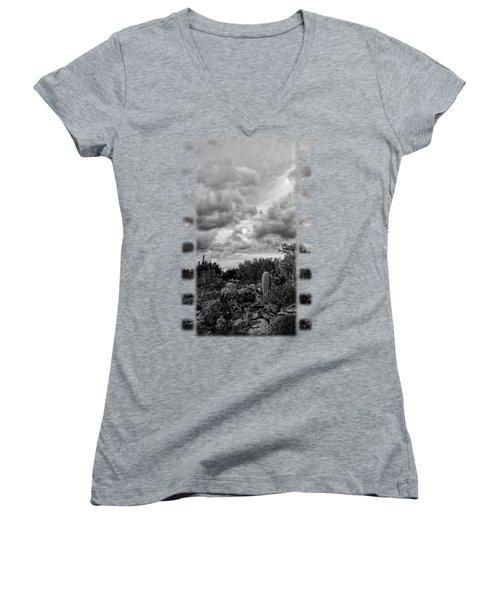 Desert In Clouds V15 Women's V-Neck T-Shirt (Junior Cut) by Mark Myhaver