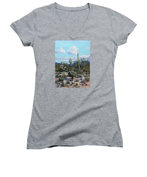 Desert Landscape Women's V-Neck T-Shirt (Junior Cut) by M Diane Bonaparte