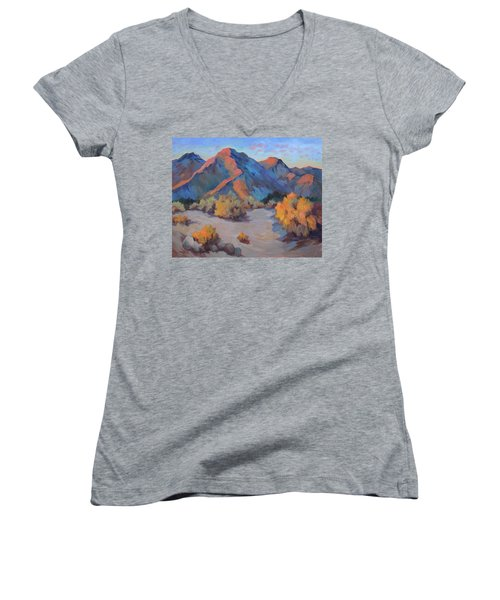 Women's V-Neck T-Shirt (Junior Cut) featuring the painting Desert Light by Diane McClary