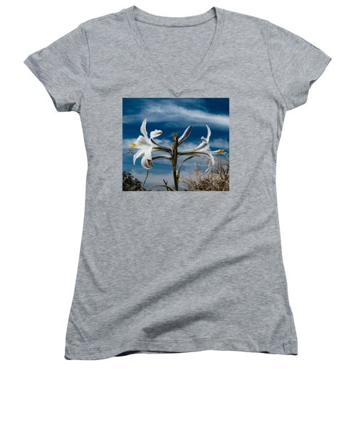 Women's V-Neck T-Shirt (Junior Cut) featuring the photograph Desert Lilly Close Up by Jeremy McKay