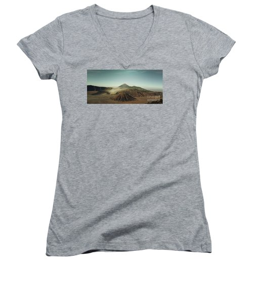 Women's V-Neck T-Shirt (Junior Cut) featuring the photograph Desert Mountain  by MGL Meiklejohn Graphics Licensing