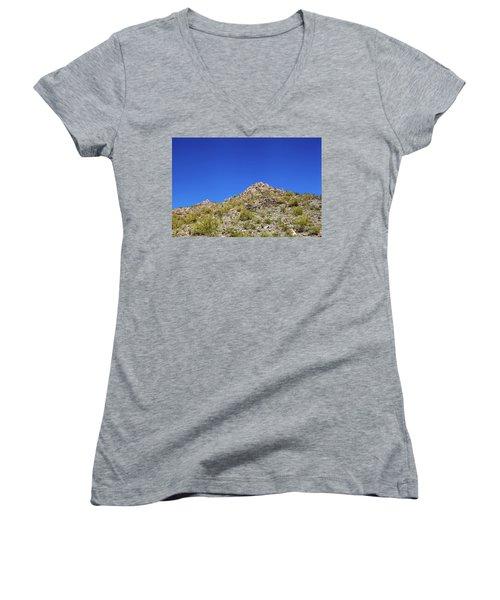 Desert Mountaintop Women's V-Neck T-Shirt (Junior Cut) by Ed Cilley