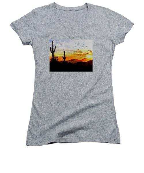 Desert Mustangs Women's V-Neck T-Shirt