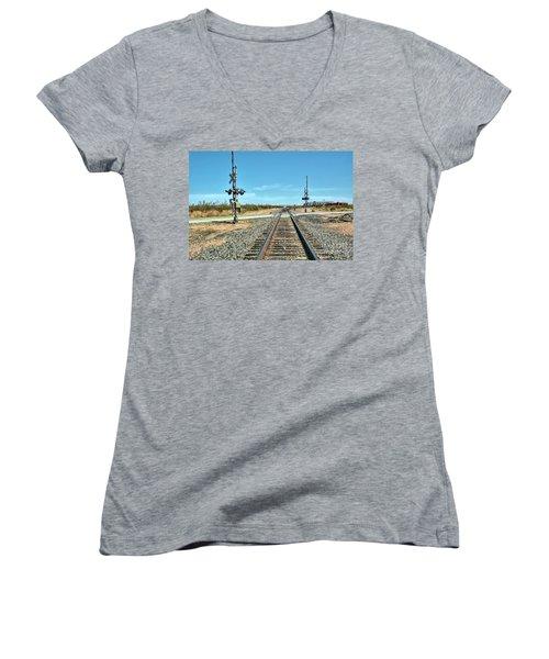 Desert Railway Crossing Women's V-Neck
