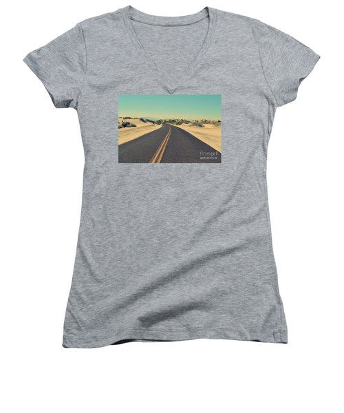 Women's V-Neck T-Shirt (Junior Cut) featuring the photograph Desert Road by MGL Meiklejohn Graphics Licensing