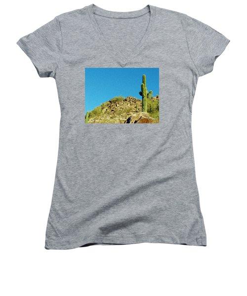 Desert Sky Women's V-Neck T-Shirt (Junior Cut) by Judi Saunders