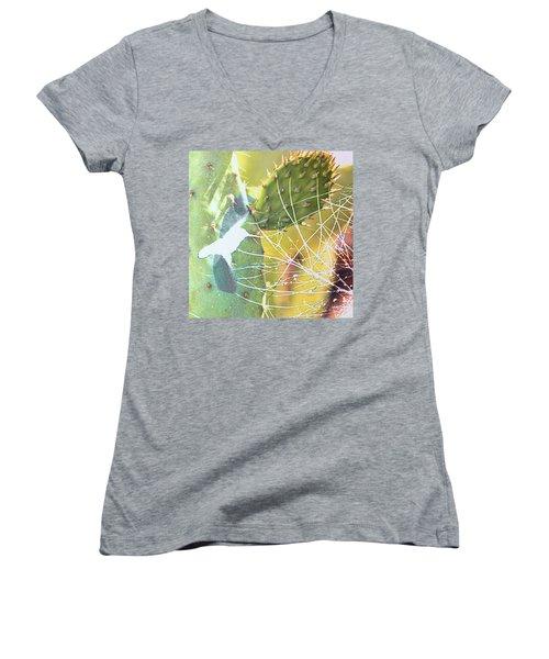 Women's V-Neck T-Shirt (Junior Cut) featuring the photograph Desert Spring by Kathy Bassett