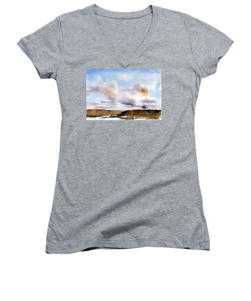Desert Storm Women's V-Neck T-Shirt (Junior Cut) by Anne Duke