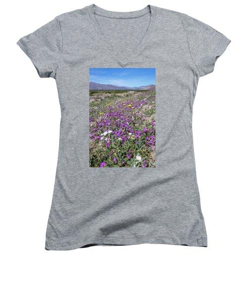 Women's V-Neck T-Shirt (Junior Cut) featuring the photograph Desert Super Bloom by Peter Tellone