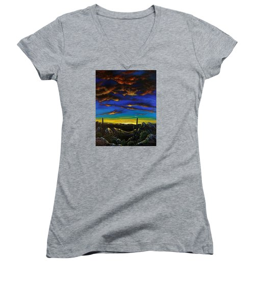 Women's V-Neck T-Shirt (Junior Cut) featuring the painting Desert View by Lance Headlee