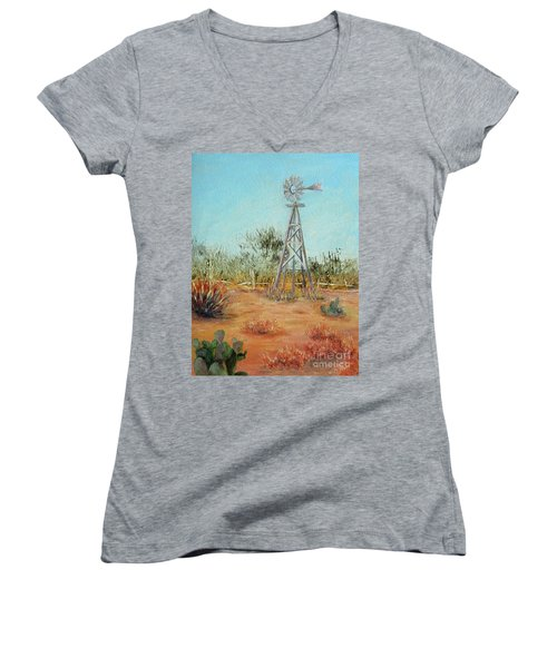 Desert Windmill Women's V-Neck (Athletic Fit)