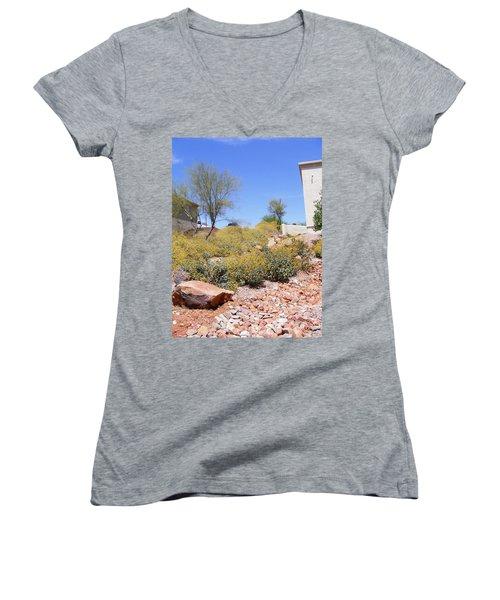 Desert Yard Women's V-Neck T-Shirt (Junior Cut) by Adam Cornelison