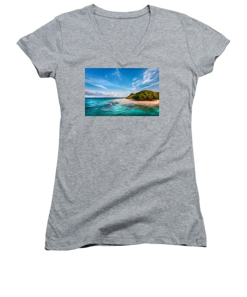 Women's V-Neck T-Shirt (Junior Cut) featuring the photograph Deserted Maldivian Island by Jenny Rainbow
