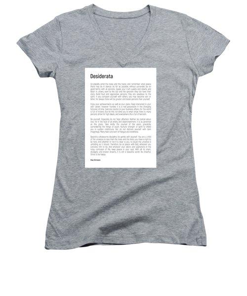 Desiderata #minimalism Women's V-Neck