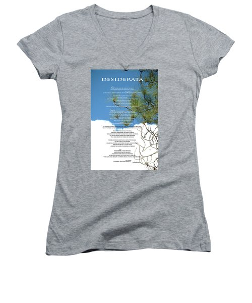 Desiderata Poem Over Sky With Clouds And Tree Branches Women's V-Neck T-Shirt (Junior Cut) by Claudia Ellis