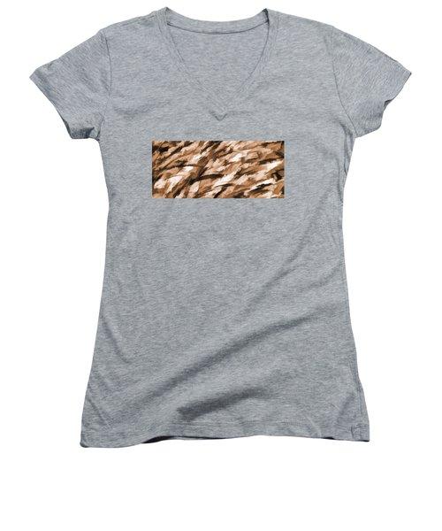 Designer Camo In Beige Women's V-Neck T-Shirt (Junior Cut) by Bruce Stanfield