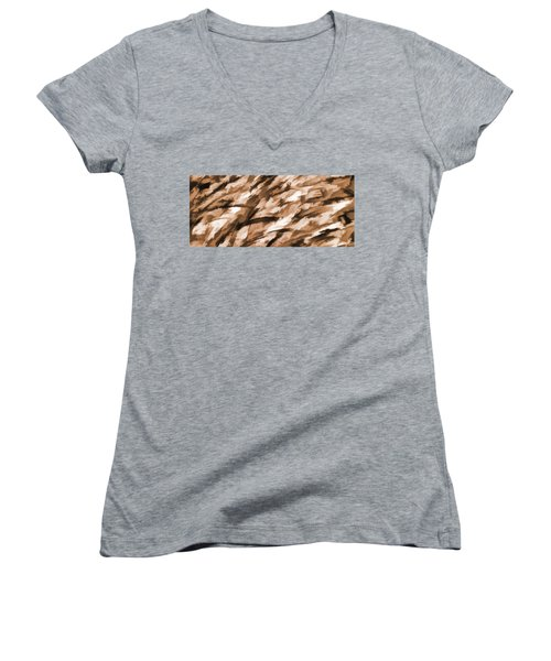 Designer Camo In Beige Women's V-Neck T-Shirt