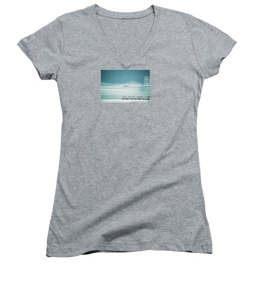 Women's V-Neck T-Shirt (Junior Cut) featuring the photograph Designs And Lines - Winter In Switzerland by Susanne Van Hulst