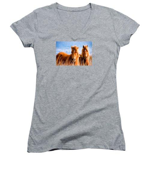 Deuces Wild Women's V-Neck T-Shirt (Junior Cut) by Steven Richardson