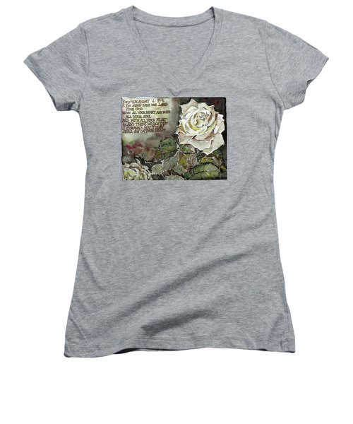 Women's V-Neck T-Shirt (Junior Cut) featuring the painting Deuteronomy 6 by Mindy Newman