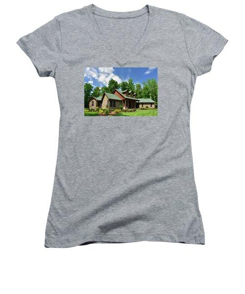 Devers Residence - King George, Va Women's V-Neck T-Shirt (Junior Cut) by Dana Sohr