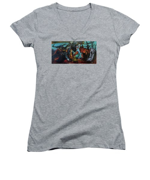 Women's V-Neck T-Shirt (Junior Cut) featuring the painting Devils Gorge by Christophe Ennis