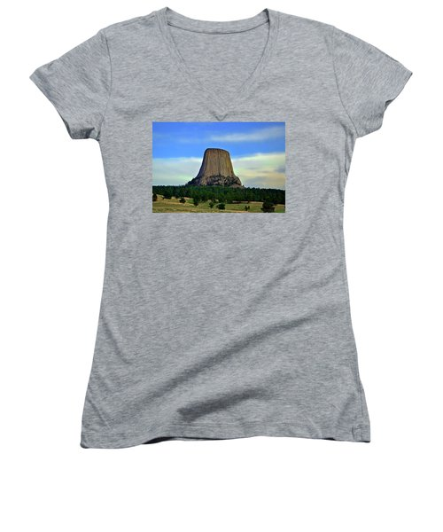 Women's V-Neck T-Shirt (Junior Cut) featuring the photograph Devils Tower 002 by George Bostian