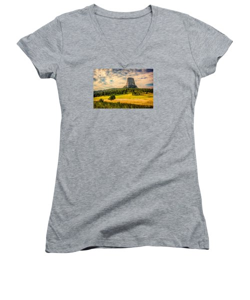 Devil's Tower - The Other Side Women's V-Neck T-Shirt (Junior Cut) by Rikk Flohr