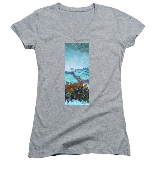 Devon Landscape Painting - Hills Near Exeter Women's V-Neck
