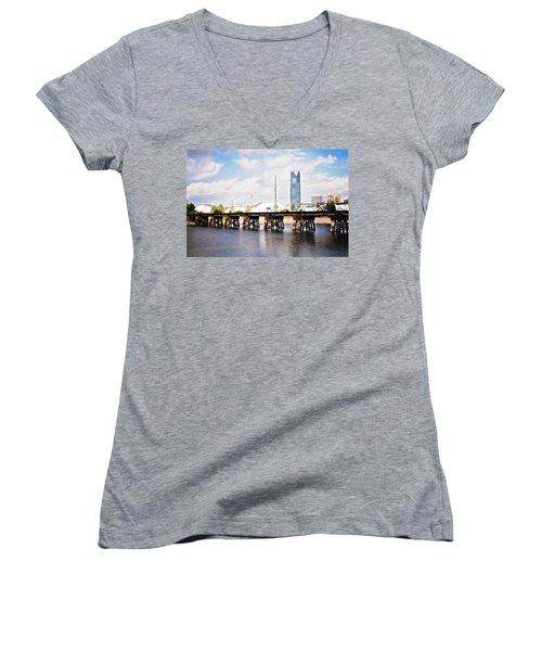 Devon Tower Women's V-Neck T-Shirt (Junior Cut) by Lana Trussell