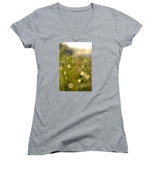 Dew Droplets Women's V-Neck T-Shirt (Junior Cut) by Nikki McInnes