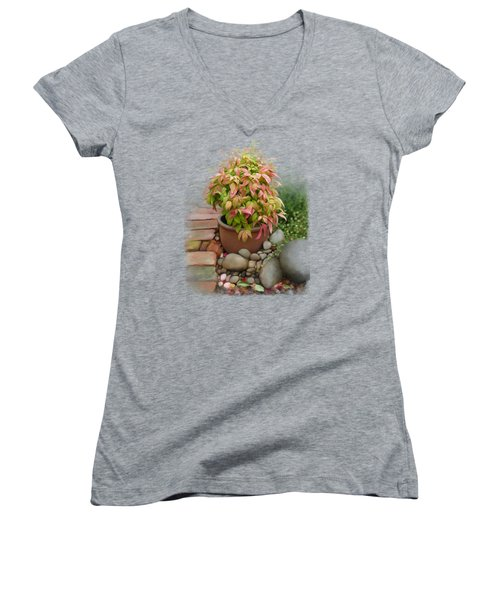 Dew On Leaves Women's V-Neck T-Shirt (Junior Cut) by Ivana Westin