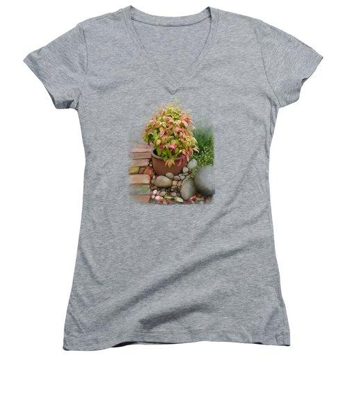 Dew On Leaves Women's V-Neck T-Shirt