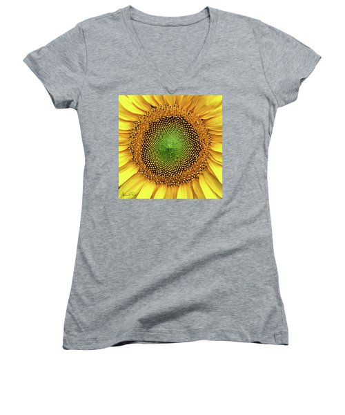 Women's V-Neck featuring the photograph Dewdrops On The Sun by Andrea Platt