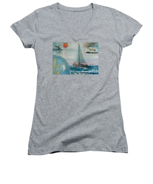 Ireland Canada Links..'' Northabout '' Rounding The North West Passage Women's V-Neck T-Shirt