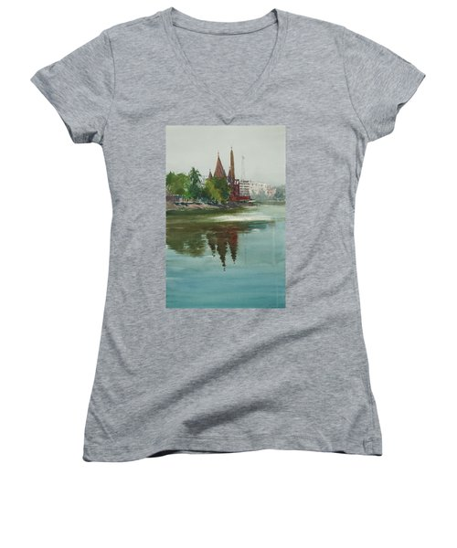 Women's V-Neck T-Shirt (Junior Cut) featuring the painting Dhanmondi Lake 04 by Helal Uddin