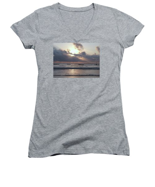 Dhow Wooden Boats At Sunrise 1 Women's V-Neck (Athletic Fit)