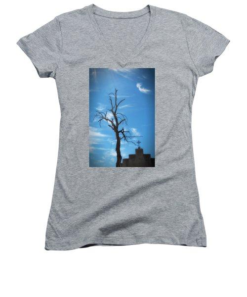 Women's V-Neck T-Shirt (Junior Cut) featuring the photograph Dia De Los Muertos by Lynn Geoffroy