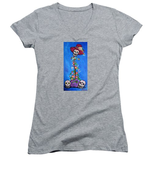 Women's V-Neck T-Shirt (Junior Cut) featuring the painting Dia De Los Muertos by Pristine Cartera Turkus