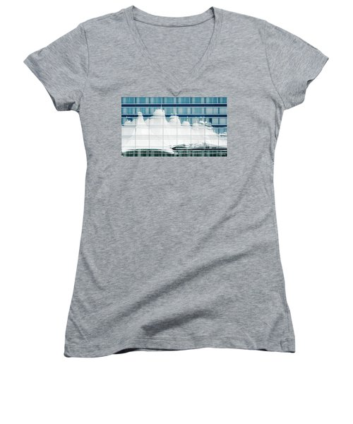 Women's V-Neck T-Shirt (Junior Cut) featuring the photograph Dia Hotel Reflection by Joe Bonita