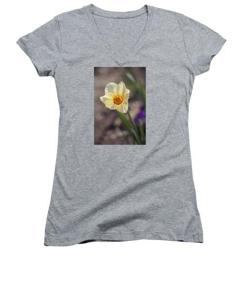 Diagonal Daffy Women's V-Neck T-Shirt (Junior Cut) by Morris  McClung