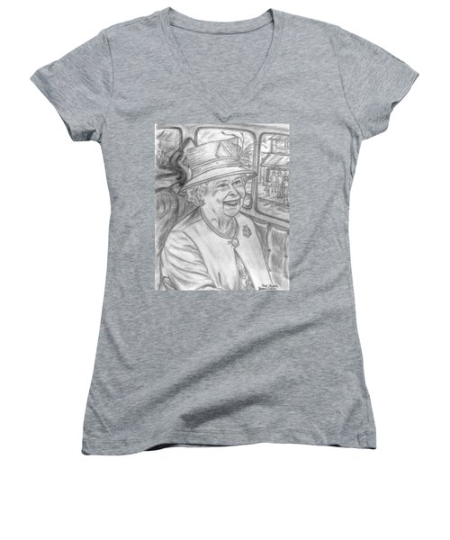 Women's V-Neck T-Shirt (Junior Cut) featuring the drawing Diamond Jubilee by Teresa White