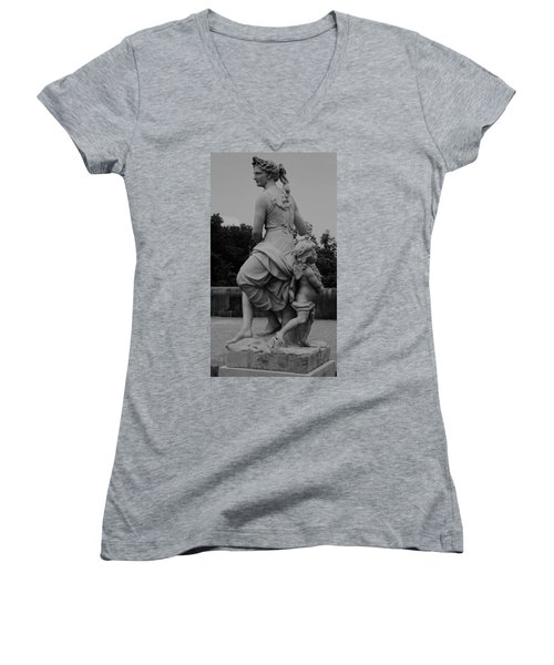 Women's V-Neck T-Shirt (Junior Cut) featuring the painting Diana by Eric  Schiabor