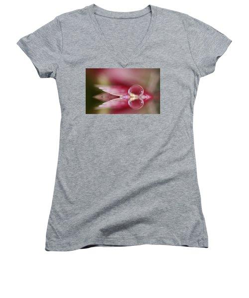 Dianthus Dreaming Women's V-Neck T-Shirt (Junior Cut) by Kym Clarke